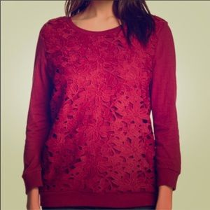 Red Crochet Floral Long Sleeve Top